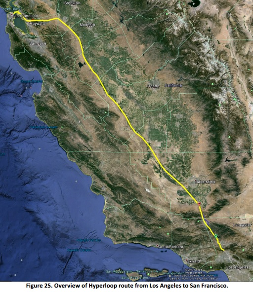 Hyperloop System Proposed Route Follows Interstate 5